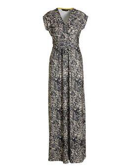Maxi jurk met all-over print beige
