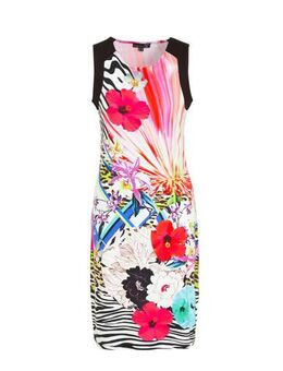 Jersey jurk met all over print multi