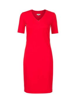 Jersey jurk met contrastbies en contrastbies rood