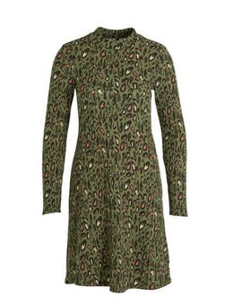 Jersey jurk met all over print groen