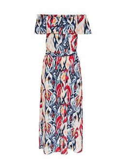 Off shoulder maxi jurk Alma met all over print en ceintuur ecru/rood/blauw
