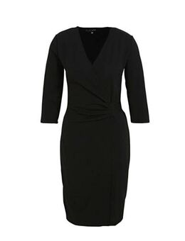 Wikkel-look jurk zwart