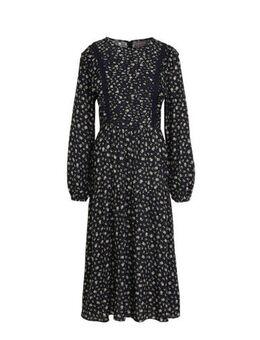 Yessica gebloemde maxi jurk donkerblauw