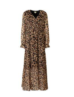 Gevoerde maxi-jurk met pofmouwen en een panterprint