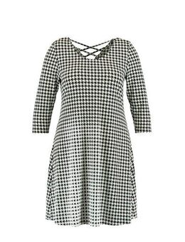 Jersey jurk met pied-de-poule grijs/zwart