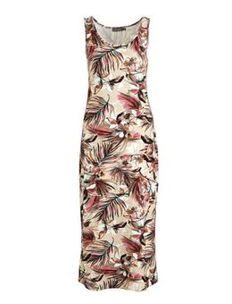 Jersey maxi jurk River met all over print beige/multi