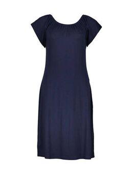 Jersey jurk met plooien donkerblauw