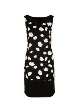 Gebloemde jersey jurk met contrastbies en contrastbies zwart/wit/geel