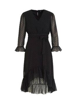 Semi-transparante jurk Jessamin en ceintuur zwart