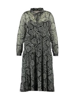 Semi-transparante jurk met all over print grijs/zwart