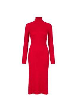 Gebreide jurk met lange mouw en col rood