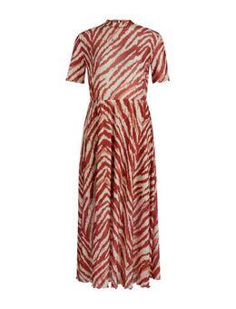 Maxi jurk met zebraprint en ruches rood