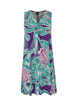 A-lijn jurk Swirl met paisleyprint en plooien multi