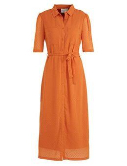 Semi-transparante blousejurk Sorbonne met ceintuur oranje