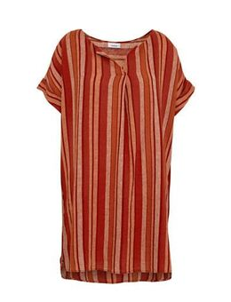 XL Yessica jurk met linnen rood/oranje