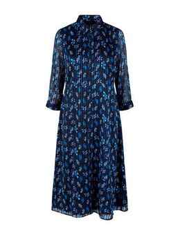 Semi-transparante blousejurk met all over print donkerblauw