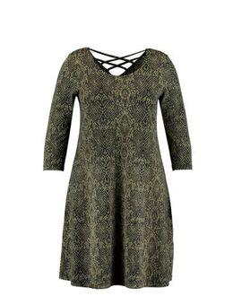 Jersey jurk met slangenprint groen