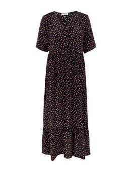 Maxi jurk met all over print zwart