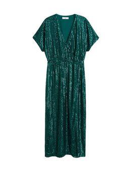 Maxi jurk met pailletten groen