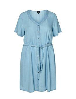 Lyocell denim blousejurk lichtblauw