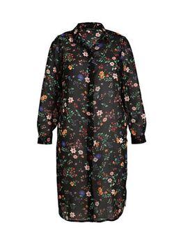 Gebloemde semi-transparante blousejurk zwart/mutli