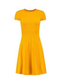 Fijngebreide jurk geel