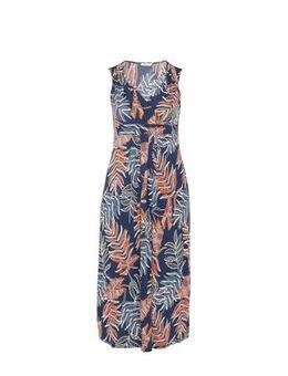 Maxi jurk met all over print en plooien marineblauw/oranje
