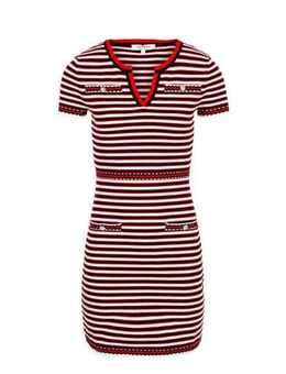 Gestreepte jurk rood/wit/zwart