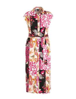 Maxi blousejurk met all over print en ceintuur multi