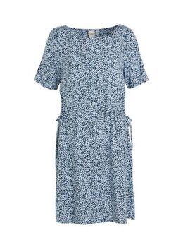 Jersey jurk met all over print lichtblauw