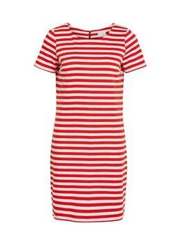 Gestreepte jersey jurk rood/wit