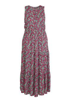 Gebloemde maxi jurk fuchsia/ turquoise