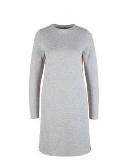 Gemêleerde jurk met contrastbies lichtgrijs/multi