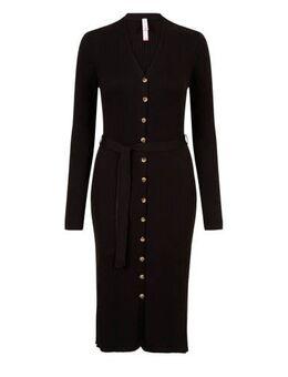 Regulier jersey jurk met ceintuur zwart