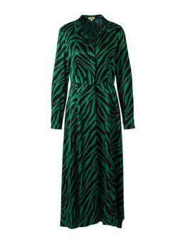 Satijnen maxi jurk met zebraprint groen/zwart