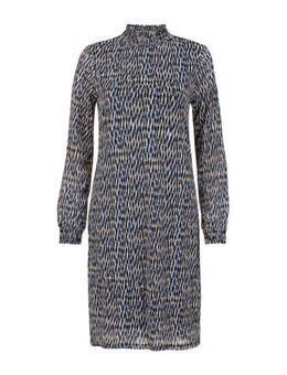 Regulier jersey jurk met all over print blauw