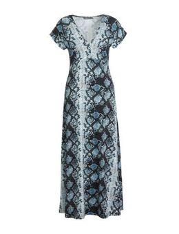 Maxi jurk met slangenprint blauw/grijs/zwart