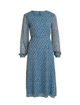 Semi-transparante jurk VISABBIA L/S MIDI DRESS met all over print blauw