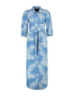Maxi blousejurk Elyana met bladprint en ceintuur lichtblauw denim