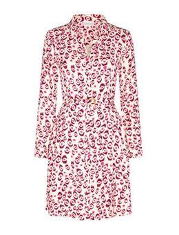 Blousejurk Hayley met all over print en ceintuur roze/beige