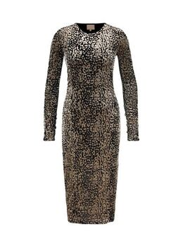 Fluwelen jersey jurk Renate met all over print champagne