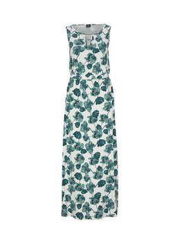 Maxi jurk met all over print en open detail ecru/blauw