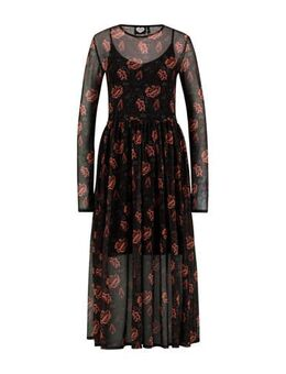 Gebloemde semi-transparante maxi jurk Victory zwart/roze