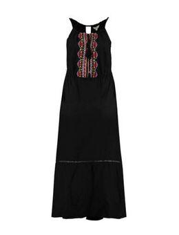Halter maxi jurk met borduursels zwart