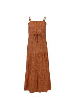 Maxi jurk met panterprint koraalrood/geel