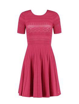 Semi-transparante jurk Jaelle met plooien fuchsia