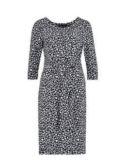 Jersey jurk Delila met all over print zwart/wit