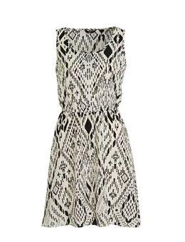 A-lijn jurk Nova met all over print en plooien ecru/zwart