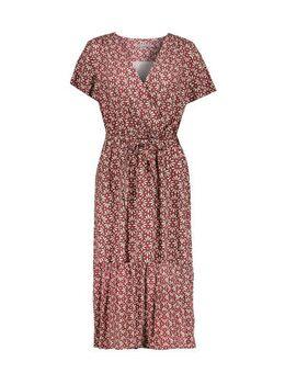 Jersey jurk met all over print en plooien rood/zand