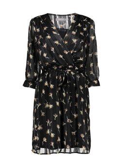 Semi-transparante jurk met all over print en glitters zwart/goud